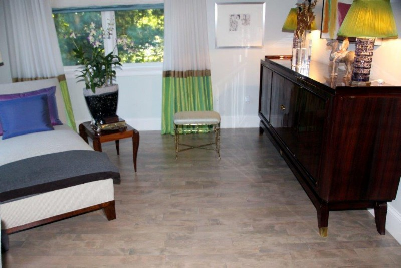 <strong>Gray Stain on Maple Floors</strong><br>Maple flooring was refinished with a custom gray stain mix.
