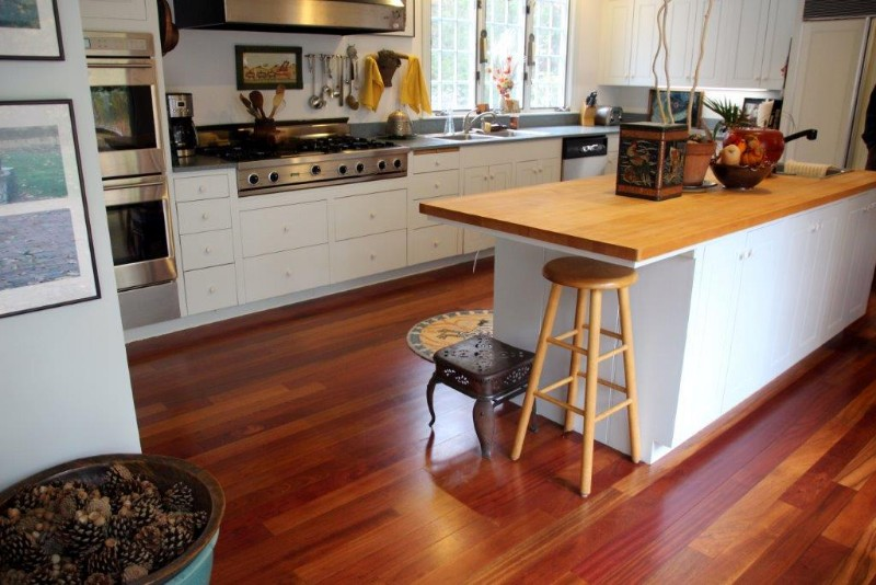 <strong>Brazilian Cherry</strong><br>These Brazilian Cherry kitchen floors were refinished and a coating of natural polyurethane was applied.