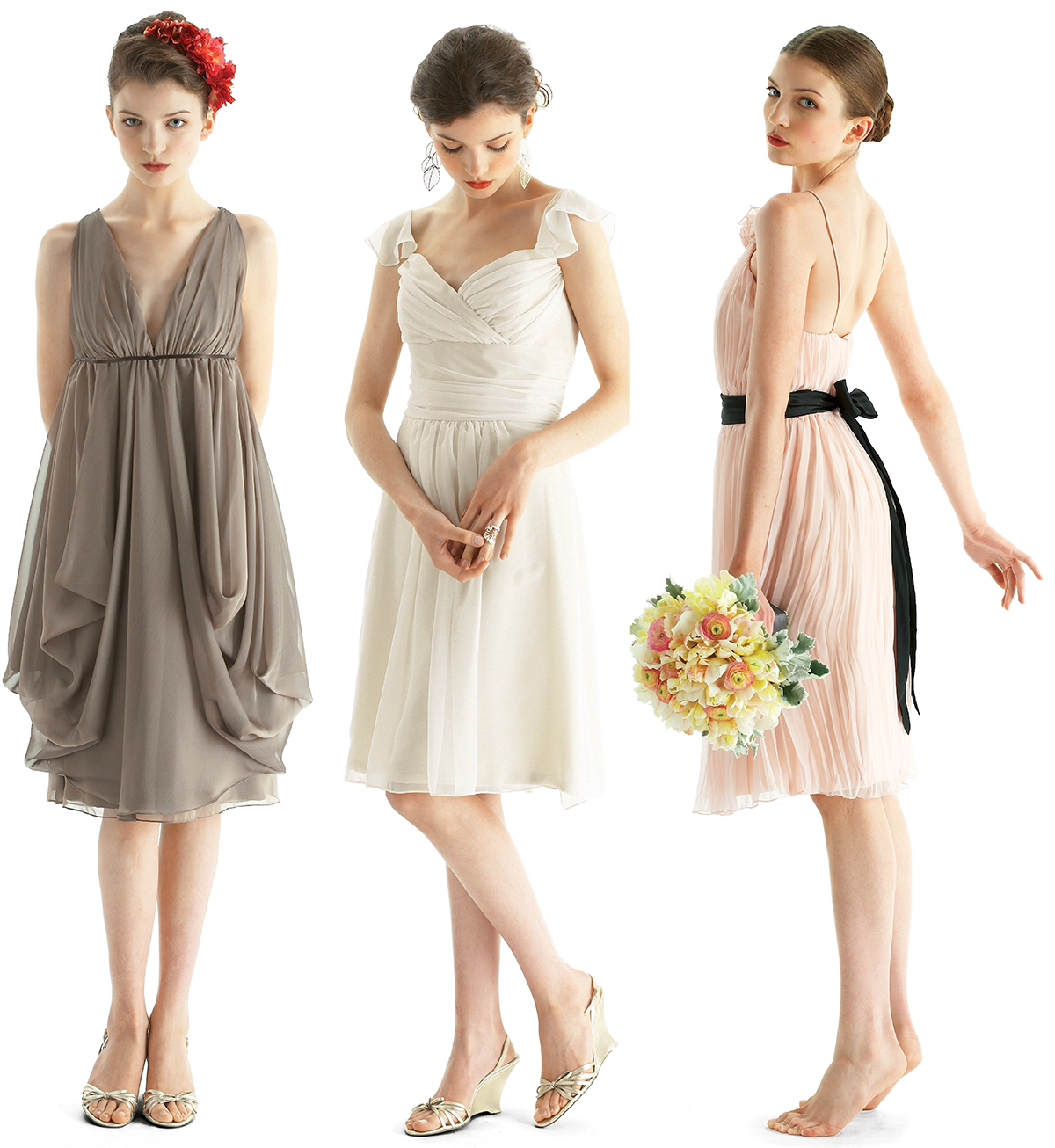 colorful coordinated bridesmaid dresses