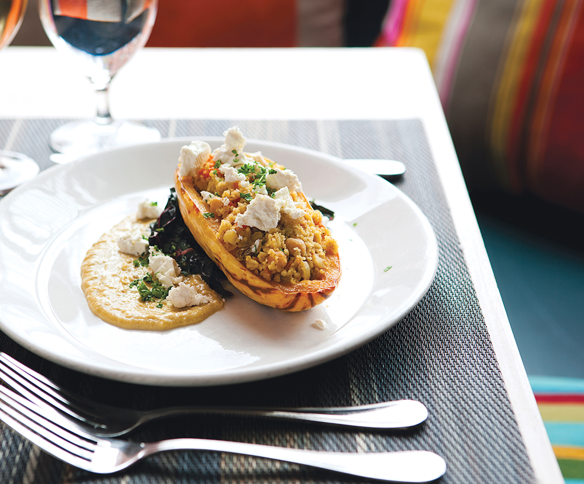Stuffed delicata squash at Vee Vee in Jamaica Plain. Photograph by Keller + Keller.