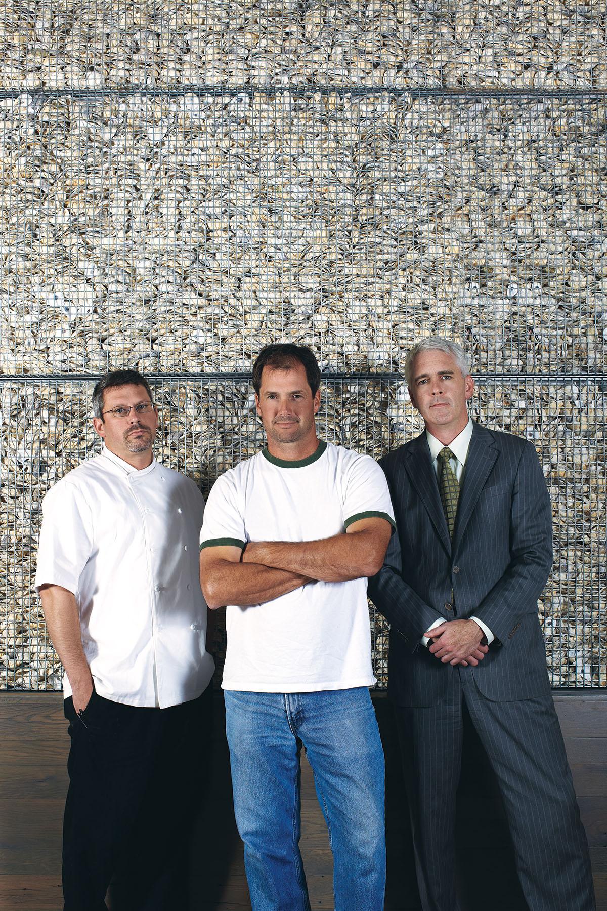 From left, the partners behind Island Creek Oyster Bar: Jeremy Sewall, Skip Bennett, and Garett Harker. Photo by Matt Kalinowski