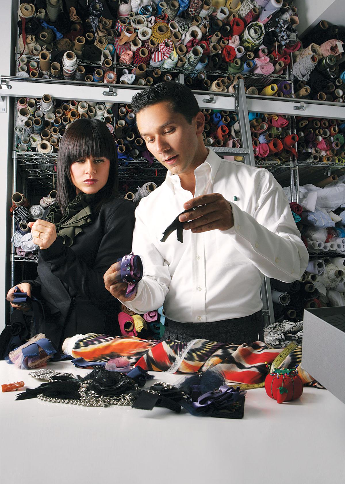 Daniela Corte and Ricardo Rodriguez at work in Corte's studio. Photo by Melissa Mahoney.