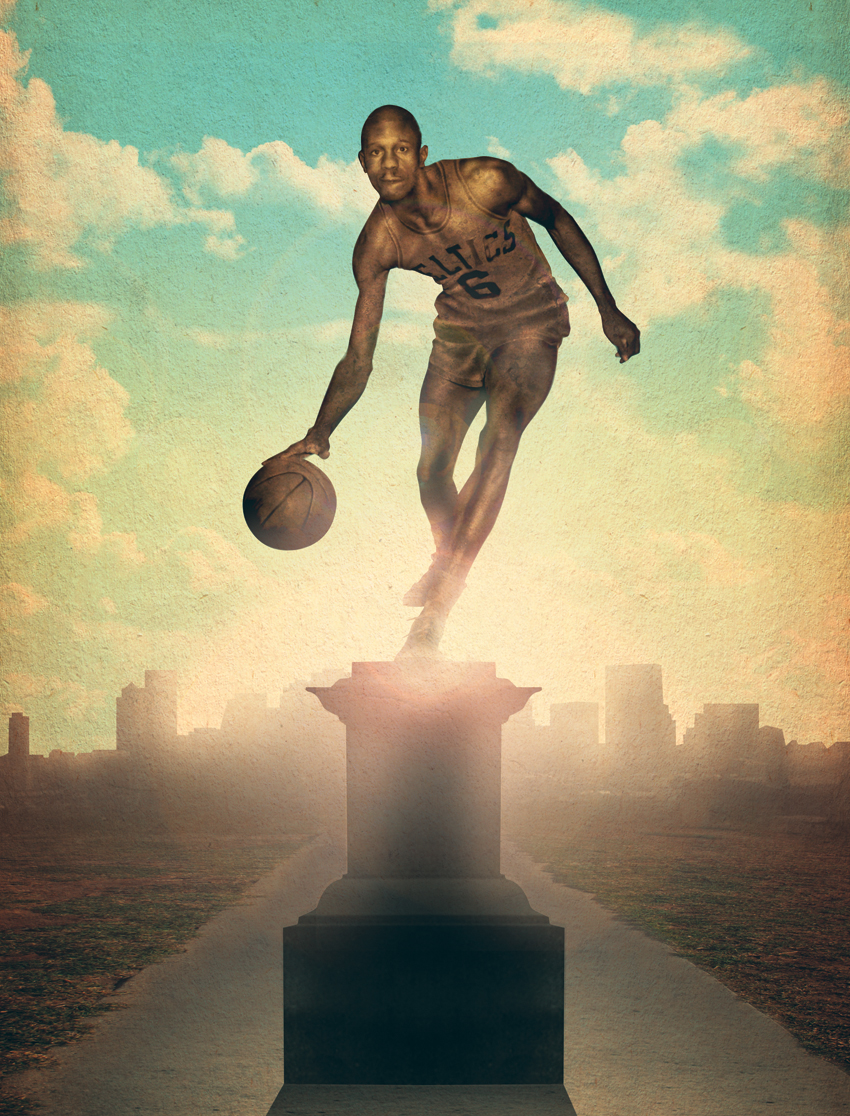bill russell statue illustration