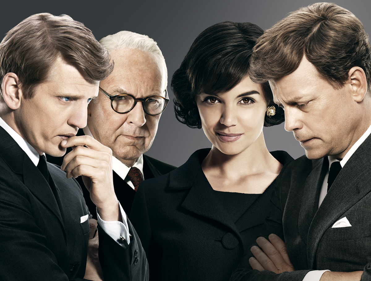 Image of Barry Pepper, Tom Wilkinson, Katie Holmes, and Greg Kinnear portraying the Kennedys, taken from a promotional poster for The Kennedys miniseries. Courtesy of Kevin Lynch.