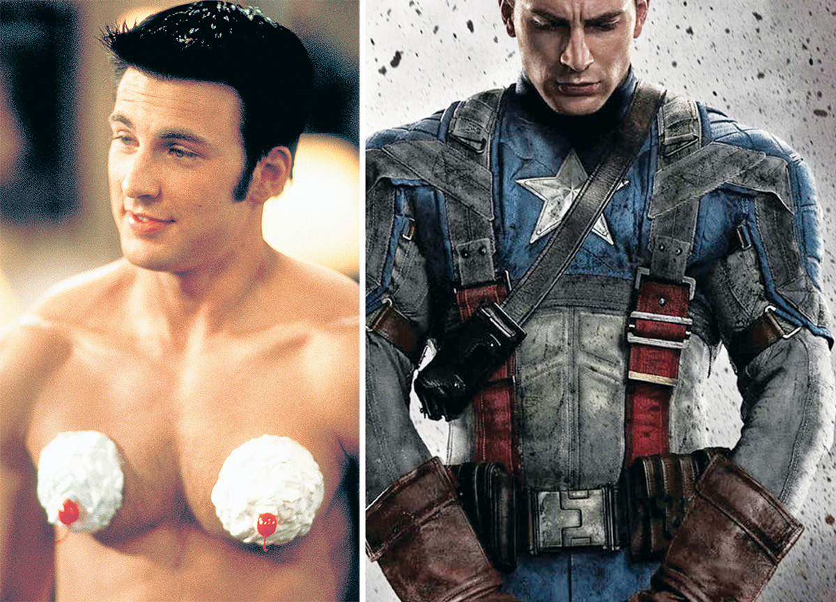 Left: Showing off his sweet side in Not Another Teen Movie (Photograph by Columbia/Courtesy of Neal Peters Collection). Right: Evans as Captain America (Photograph courtesy of Paramount Pictures).