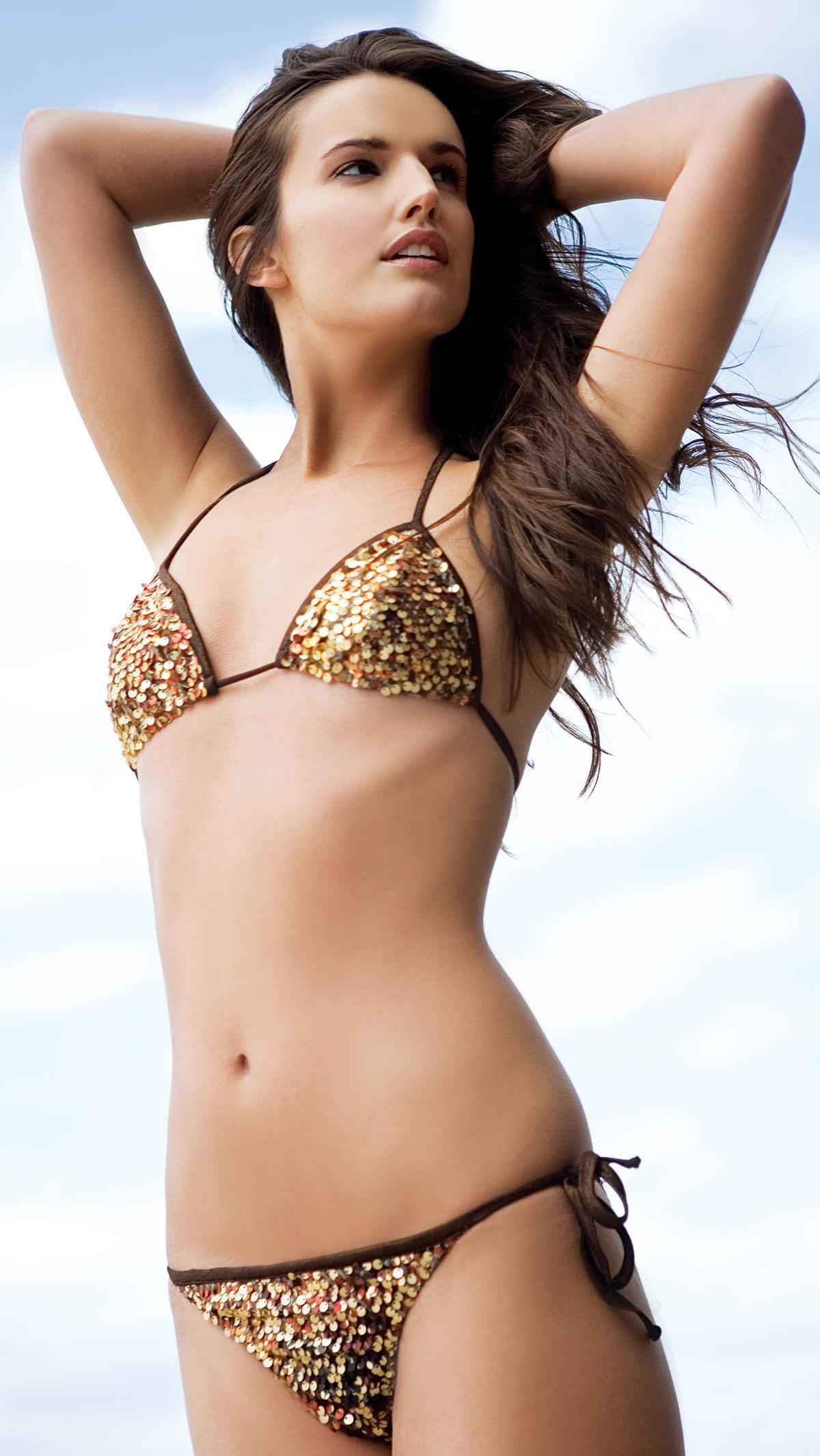 """Cintia"" sequin bikini, $245, Daniela Corte, 211 Newbury St., Boston, 617-262-2100,  danielacorte.com. Photograph by Sadie Dayton."