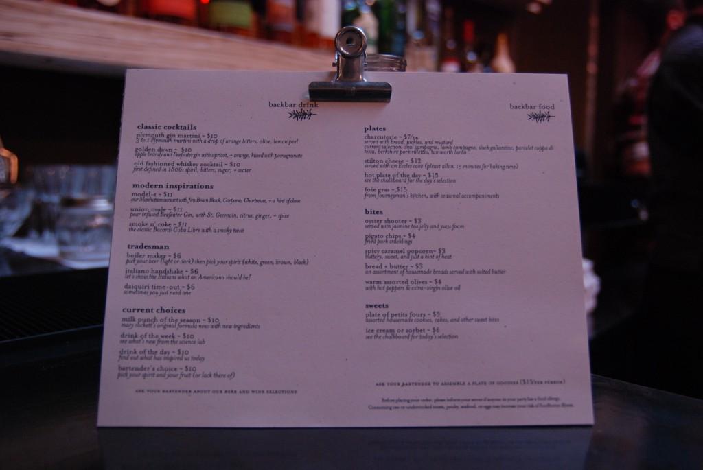 backbar menu