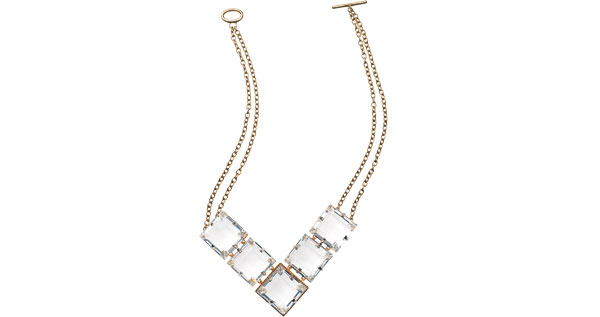 "Melanie Auld ""Grace"" faceted-glass and gold-vermeil necklace"