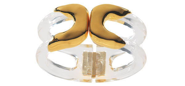 Alexis Bittar Modernist Lucite and gold-plated-metal cuff