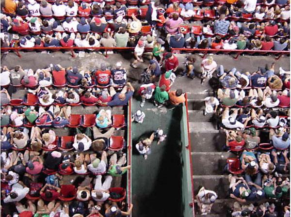 fans sitting at fenway park