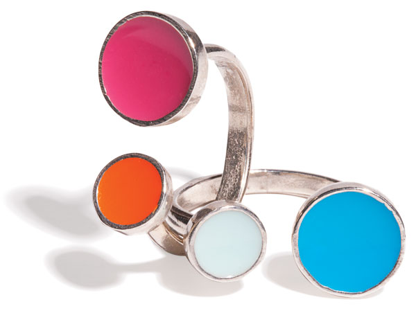 sterling silver and enamel rings