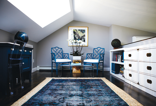 room with blue furniture