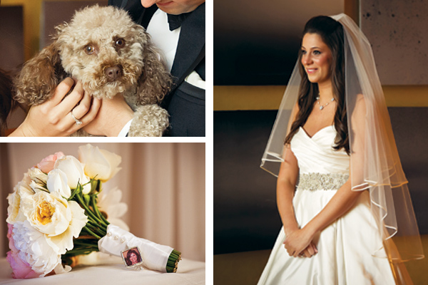 bride, dog, bouquet
