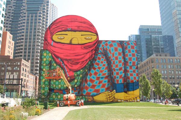 Os Gemeos mural at the ICA