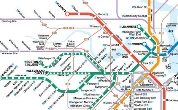 How The MBTA Map Misleads Us - Map of us boston