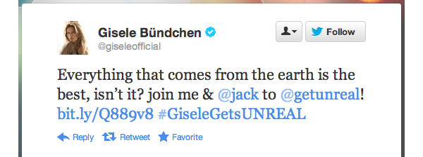 gisele bundchen tweets support for unreal candy