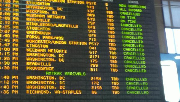 trains cancelled at south station