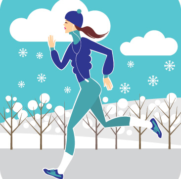 running in winter illustration