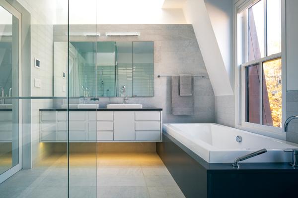 contemporary beacon hill townhouse bathroom