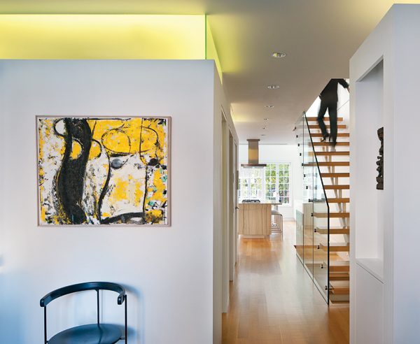 contemporary beacon hill townhouse foyer