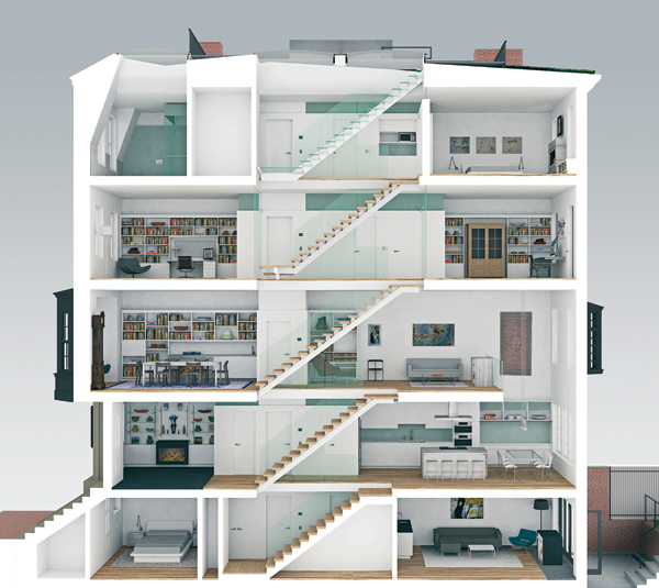 contemporary beacon hill townhouse model