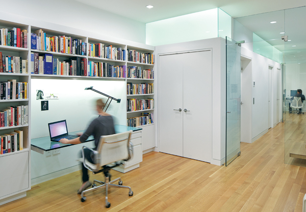 contemporary beacon hill townhouse office