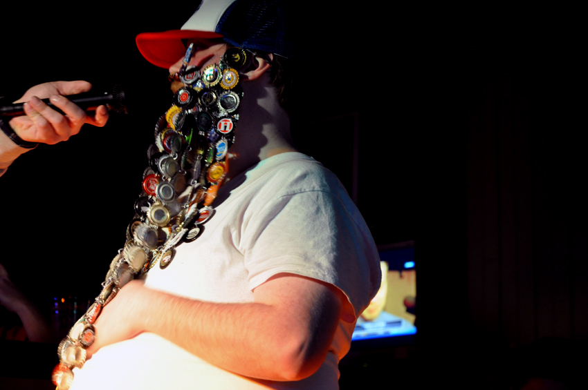 A beard made out of bottle caps: apparently only a 10 minute project.