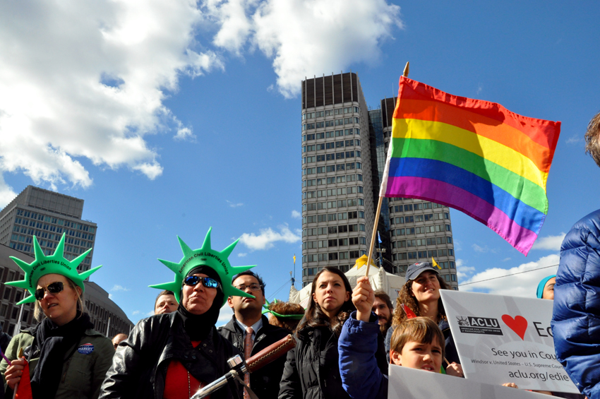 SUPPORTERS OF MARRIAGE EQUALITY RALLY AT BOSTON CITY HALL. PHOTO BY REGINA MOGILEVSKAYA