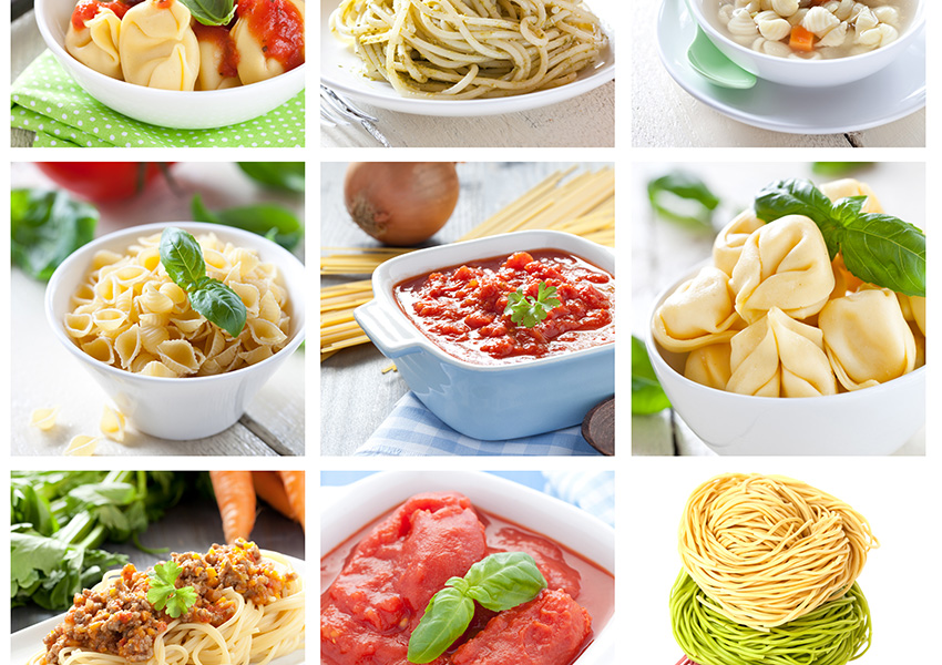 Different kinds of pasta and sauces. Hungry yet? Photo via Shutterstock