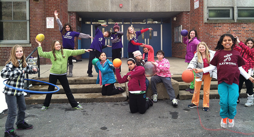 Junior Coaches (5th grade leaders) at the Manning School in Jamaica Plain. The Manning won the Boston Moves for Health elementary school physical activity challenge. Photo provided.