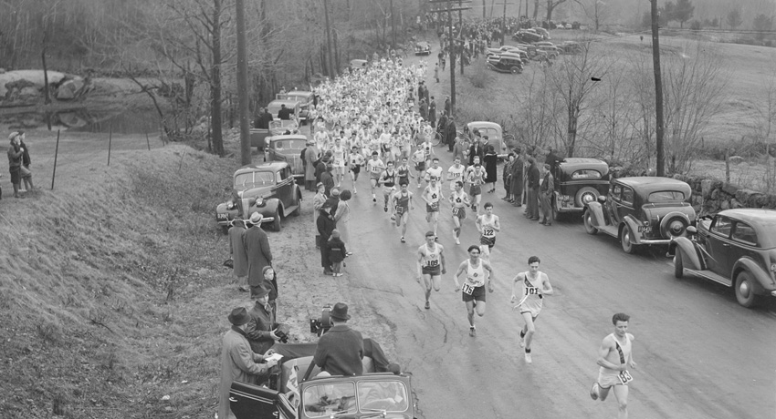 The start of the 1939 Boston Marathon. Photo via Boston Public Library/Flickr