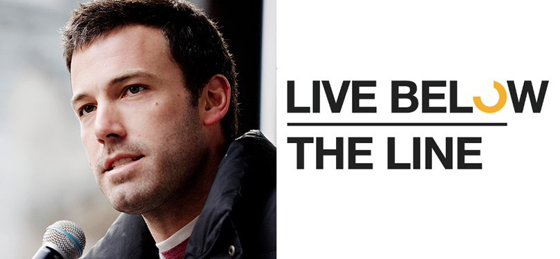 ben affleck live below the line pledges $1.50 per day