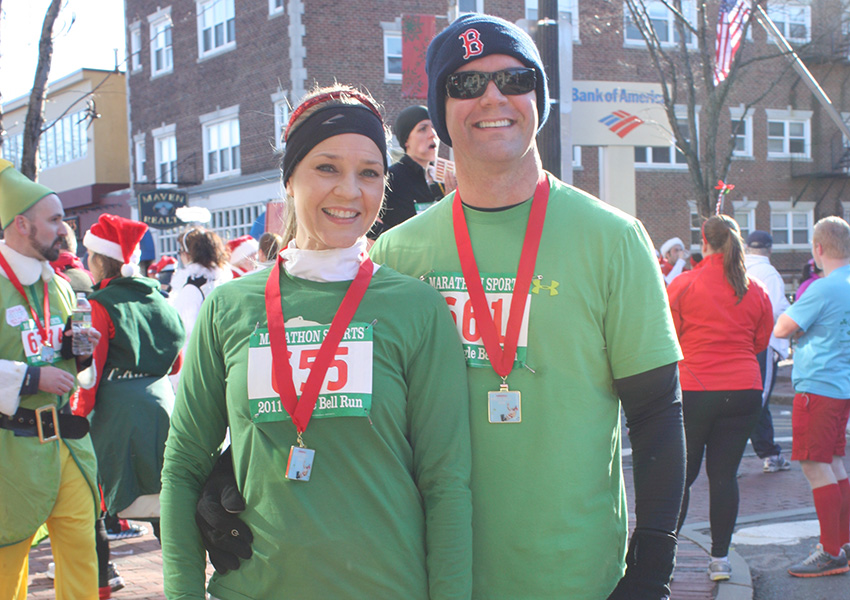 Dr. Jeffrey Brown and his wife after the Jingle Bell 5K in Davis Square.