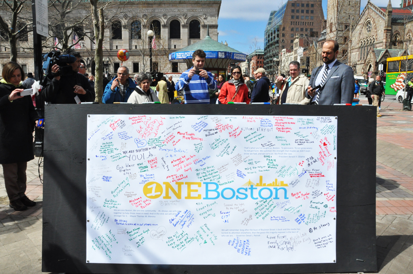 One of the three message boards at Copley Square. Photo by Regina Mogilevskaya