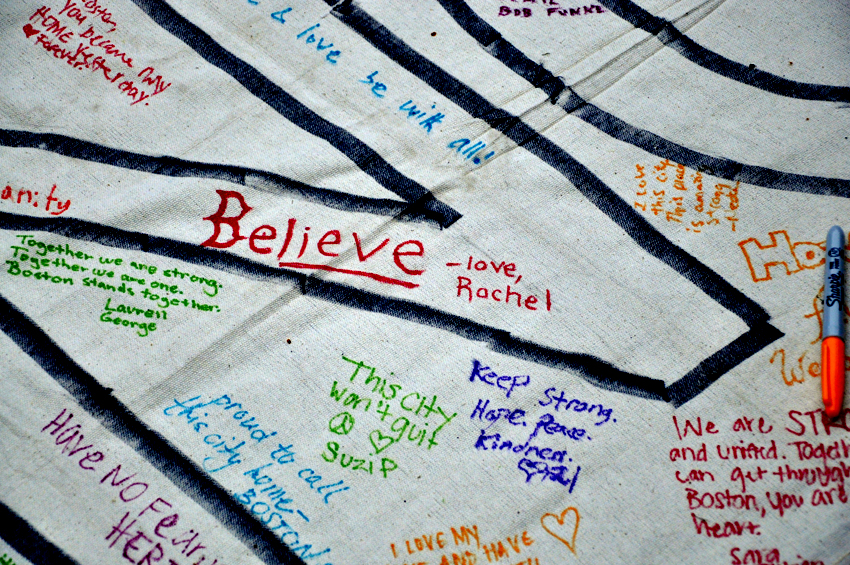 Some of the messages from supporters, written on banners. Photo by Regina Mogilevskaya