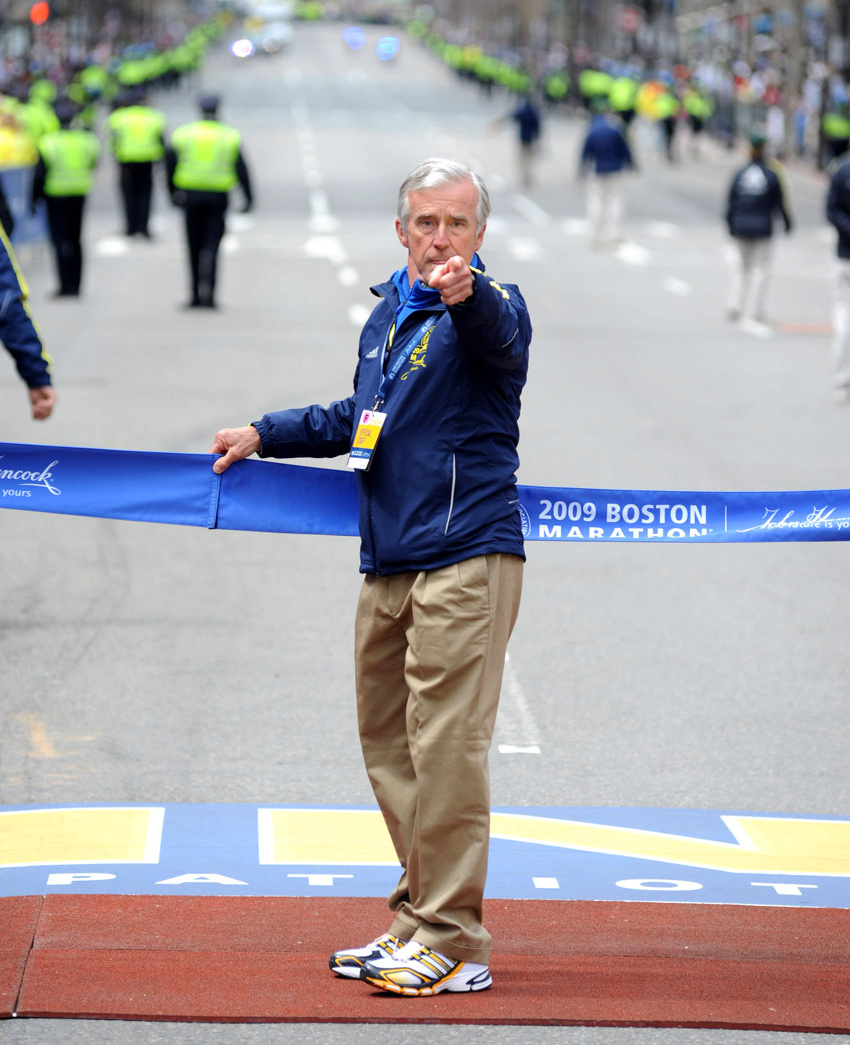 Meagher at the 2009 Boston Marathon. Photo by Victor Sailer
