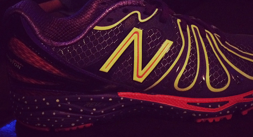 Boston Marathon limited edition sneaker in the dark. Photo by Melissa Malamut
