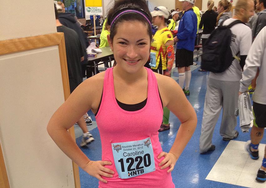 Caroline Burkard at last year's Boston Marathon. Photo provided.