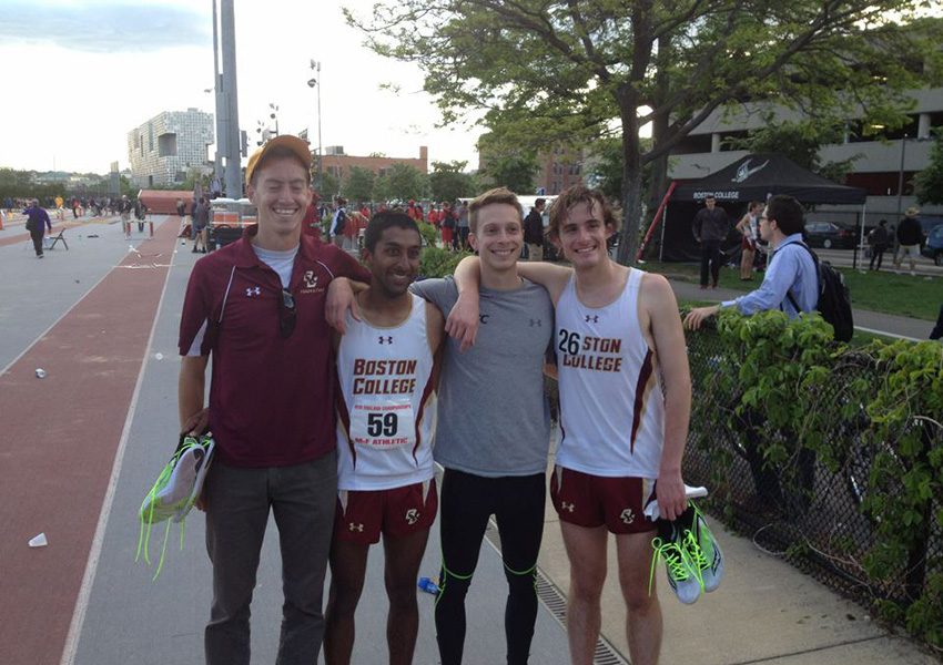 Coach Ritchie with some Boston College runners. Photo provided.