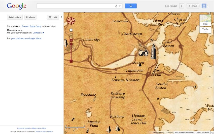 Here's What Boston Looks Like on a Google Treasure Map on google earth boston, google weather boston, topo map boston, walk score boston, print out map of boston, mapquest boston, map of tremont street boston, detailed map of downtown boston, google massachusetts, high street map of downtown boston, directions to boston,