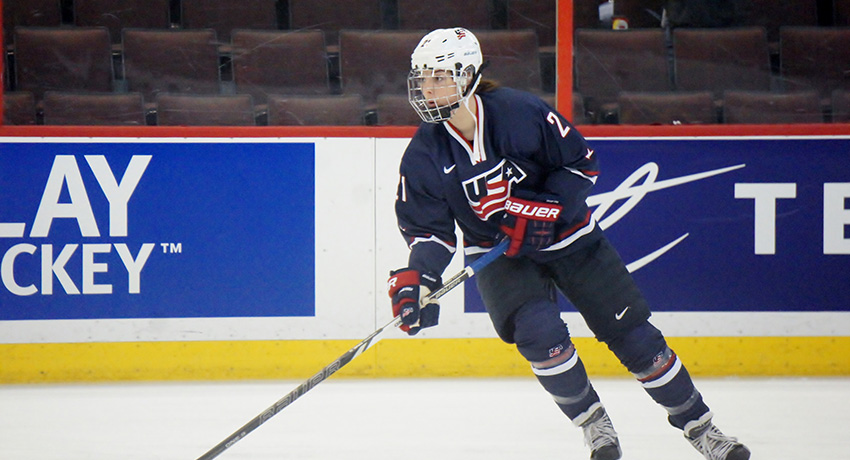 Hilary on the ice for team usa.