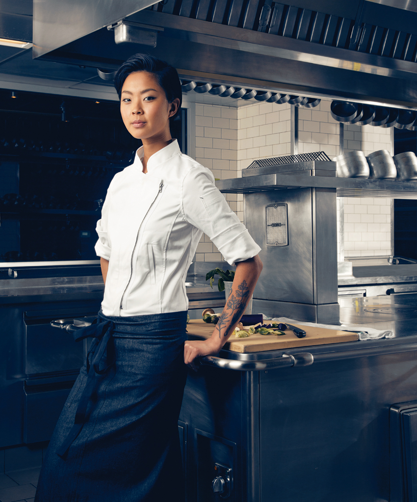 kristen kish wearing shannon reed chef coats aprons