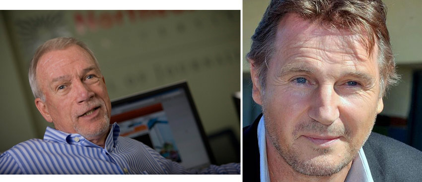 Robinson, via Twitter; Neeson, via Wikimedia Commons/Georges Biard