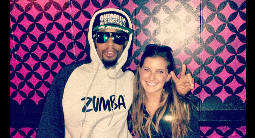 Lil Jon for Zumba and our writer, Juliette.