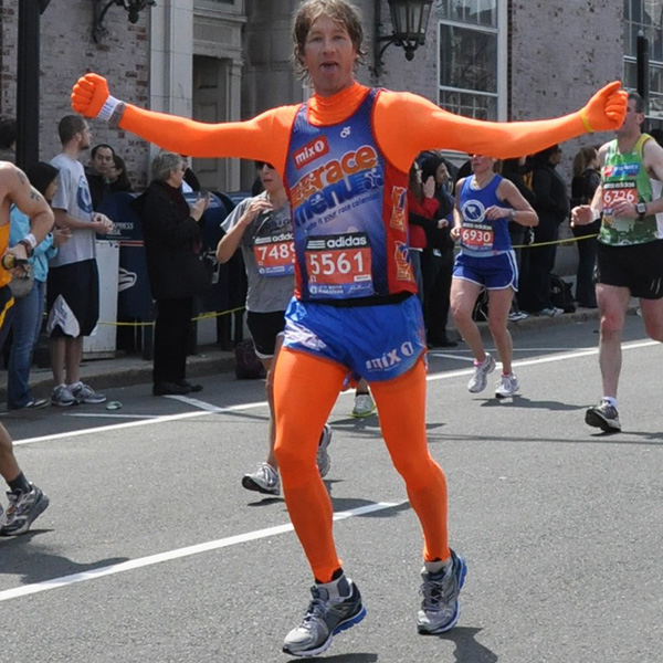 J. Alain Ferry aka 'orangeman' running the 2011 Boston Marathon