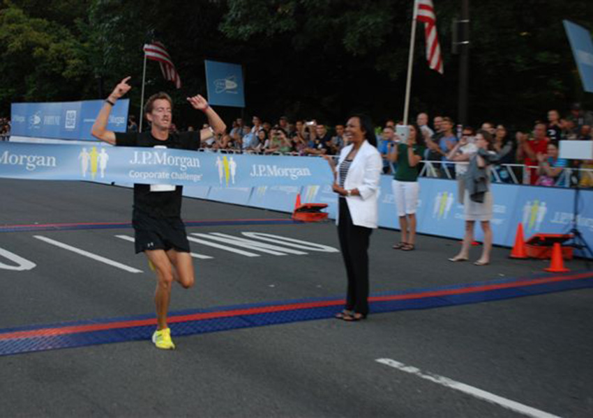 Ritchie winning the JP Morgan Corporate Challenge Race last summer.