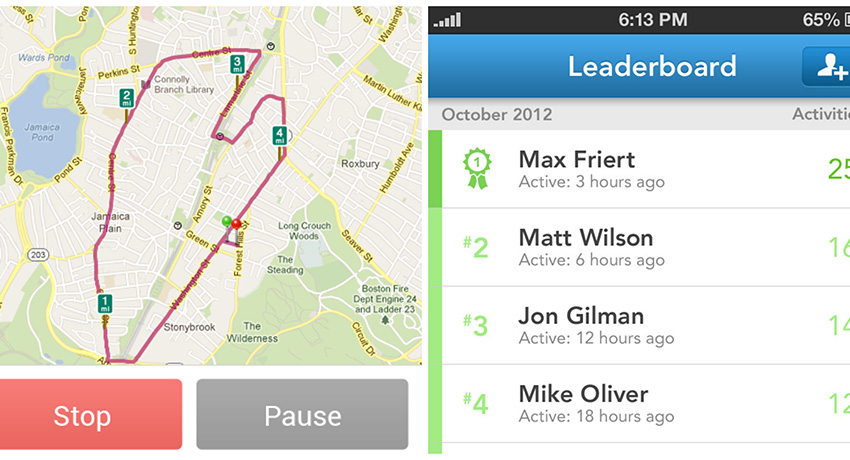 An example of RunKeeper's mapping feature and leader board. Photo provided.