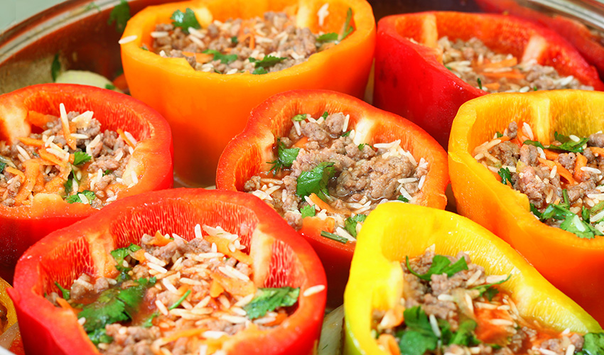 Hungry yet? Stuffed peppers photo via Shutterstock