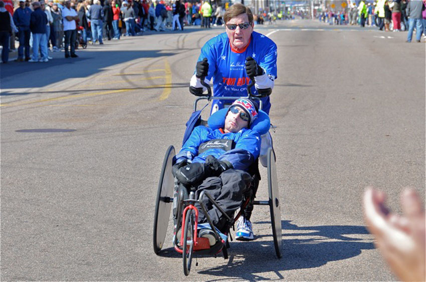 Dick and Rick Hoyt, the father-and-son team, are pictured above at the Boston Marathon in 2011 and will compete again this year (Photo via Peter Morville/Flickr).