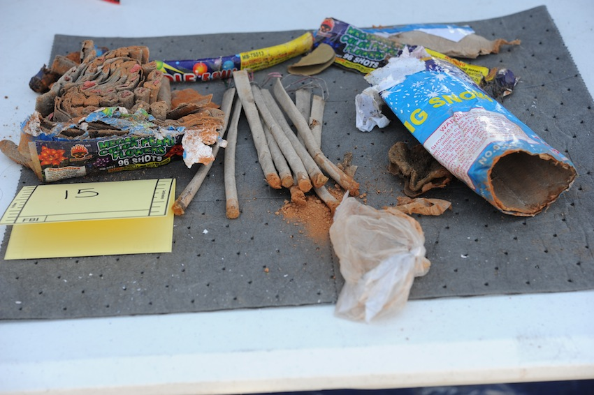 Opened and emptied fireworks found in Tsarnaev's dorm. Photo via FBI.